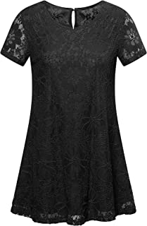 MSBASIC Women's Short Sleeve Floral Lace Blouse Round Neck Casual A-line Tunic Tops