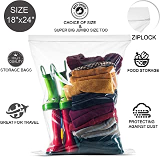 20 Count Extra Large Zip and Lock Bags, Strong Thick Clear Very Big Zip in Lock Storage Bags, Great for Food, Clothing, Toys, Supplies, Home & Office, Travel, Size 18