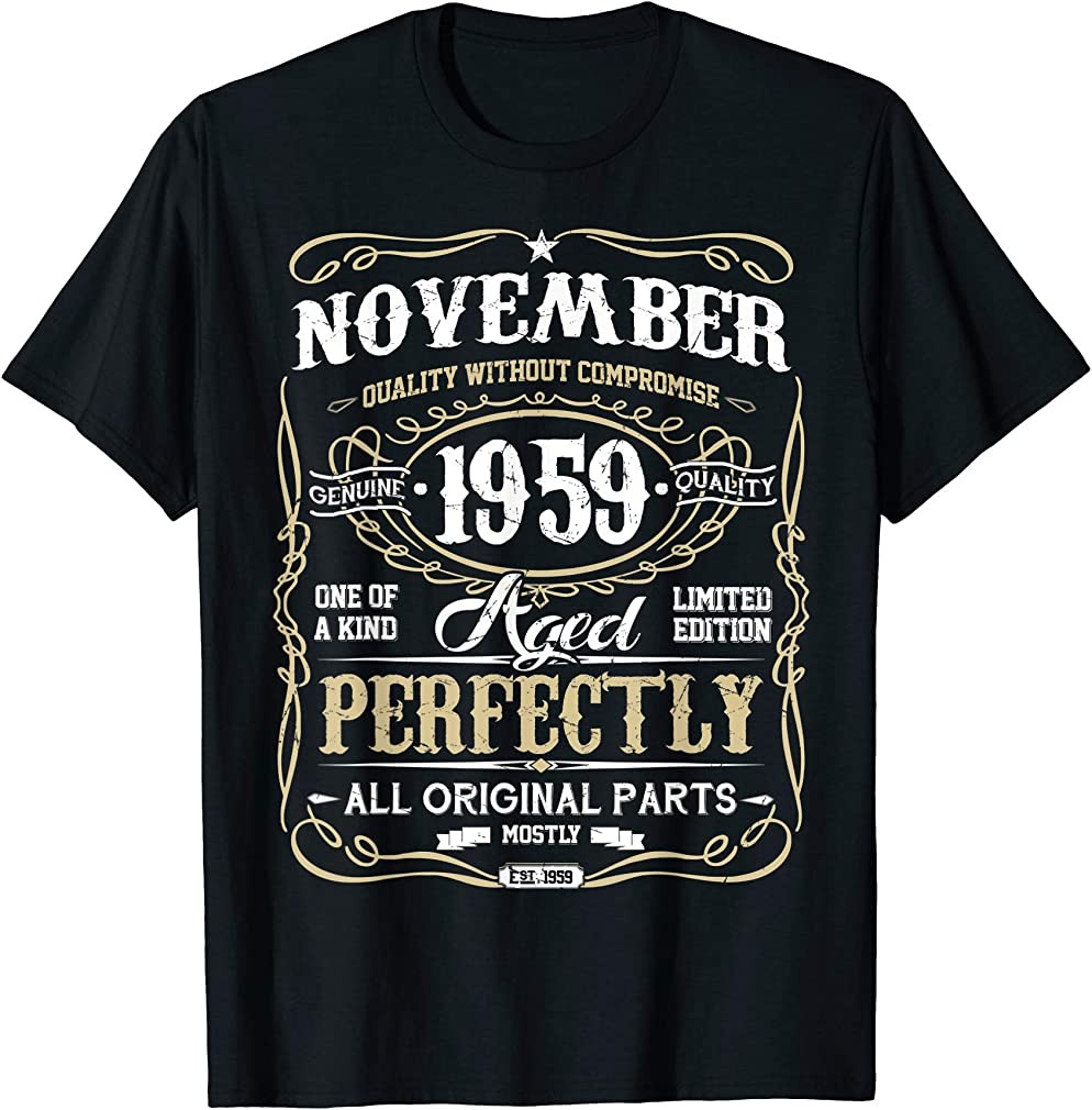 Classic 60th Birthday Gift Mens Womens Vintage November 1959 T-shirt