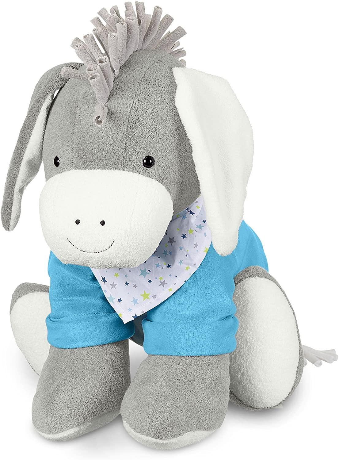 Sterntaler Toy Animal Erik, Integrated Rattle, Age  For Babies From Birth, 50 cm, Grey bluee