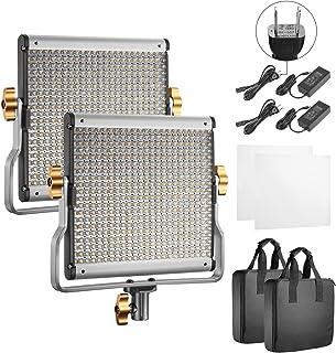 Neewer 2個 調光可能2色LEDプロビデオライト Uブラケット付き スタジオ、YouTube屋外ビデオ写真照明キットに対応 耐久性金属フレーム 480LEDビーズ、3200-5600K、CRI 96+