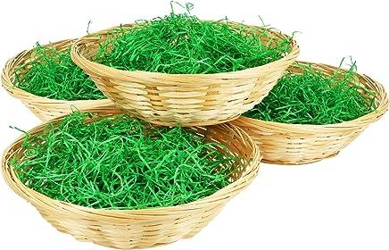 com-four® 4 Klassische Bastkörbe mit grünem Dekorations-Gras, Durchmesser: 19 cm (004 Stück - Korb mit Gras)