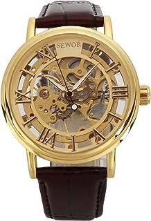SEWOR Men's Mechanical Skeleton Transparent Vintage Style Leather Wrist Watch