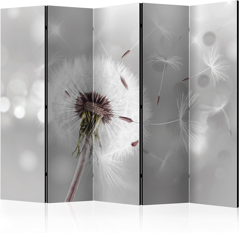 Murando Raumteiler PusteBlaume Foto Paravent 225x172 cm beidseitig auf Vlies-Leinwand Bedruckt Trennwand Spanische Wand Sichtschutz Raumtrenner grau b-C-0072-z-c