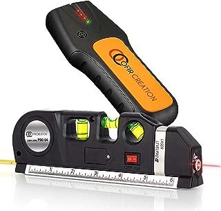 OFIRCREATION 3-in-1 Laser Level w/Built-In Measuring Tape | Multipurpose Woodworking, Contractor Tool | Imperial & Metric Measurements | Vertical & Horizontal Use | BONUS - Stud Finder
