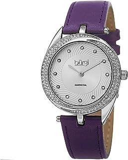 Diamond & Crystal Accented Women's Watch - 12 Diamond Hour Markers Swirl Design On Genuine Leather Strap - BUR122