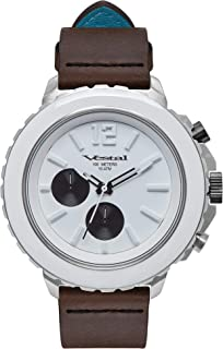 Vestal Yacht Stainless Steel Japanese-Quartz Watch with Leather Strap, Brown, 20 (Model: YAT44C05.LBWH)
