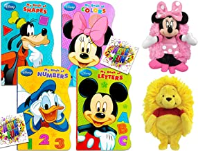Hide Away Pals Minnie Mouse Soft Plush Disney Cuddle Buddy Bundled with Winnie The Pooh Smile Friends + Disney Board Books First Shaped Fun Pack 3 Items Colors, Numbers & Shapes