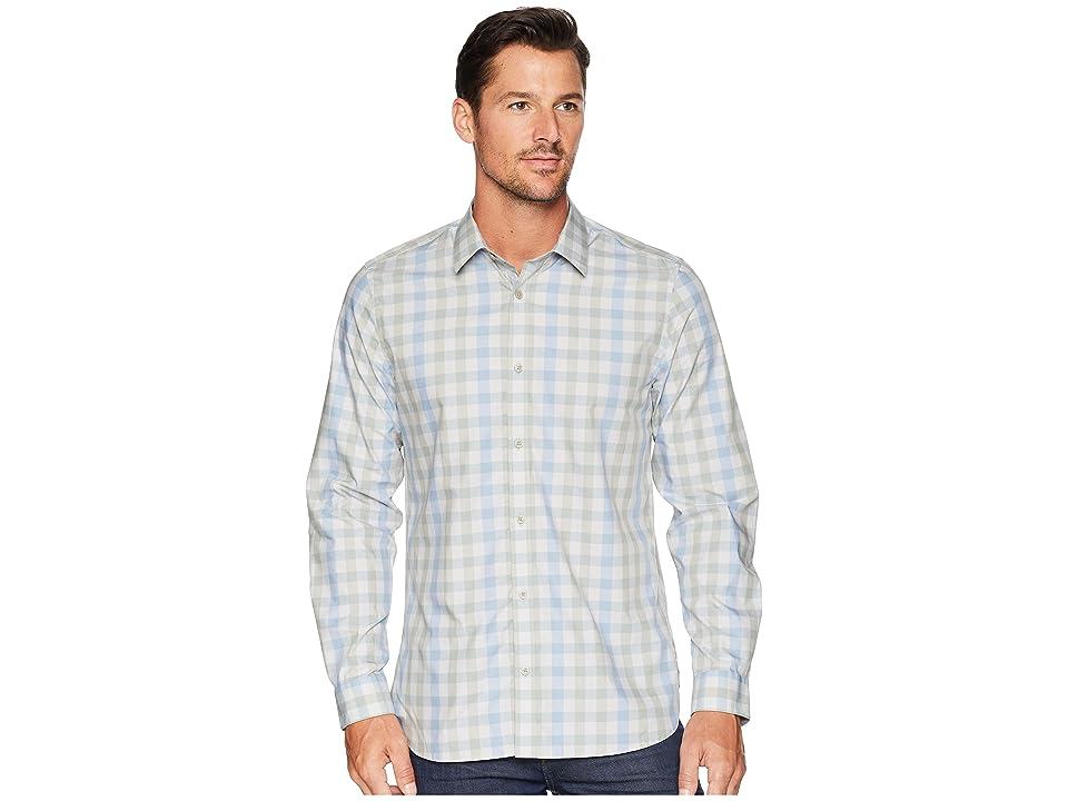 Calvin Klein Heather Melange Plaid Sport Shirt (Clear Sky) Men