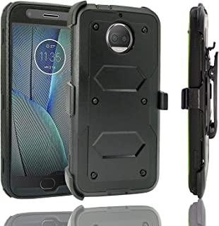 Moto G5S Plus Case, Customerfirst Hybrid Heavy Duty Dual Layer Shockproof [Swivel Belt Clip] Holster with [Kickstand] Combo Rugged Protective Case Cover for Motorola Moto G5S Plus / XT1806 (Blue)