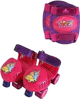 PlayWheels Disney Princess Kids Glitter Roller Skates with Knee Pads - Childrens Adjustable Skates - Junior Size 6-12