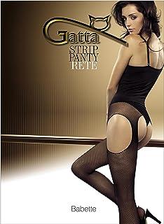 Gatta Babette 01 Strip Panty Strumpfhosen - elegant, verführerisch mit Taillenbund und floralen Verzierungen - Blumenmuster