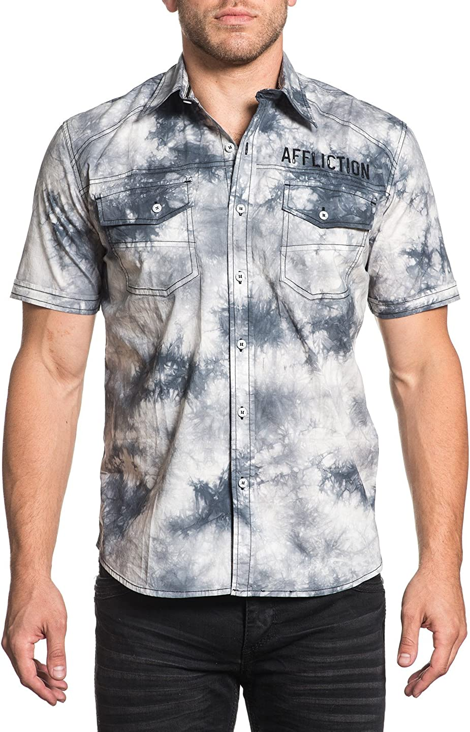 Affliction Flywheel Short Sleeve Easy-to-use Button Down Shirt for Men Woven New life