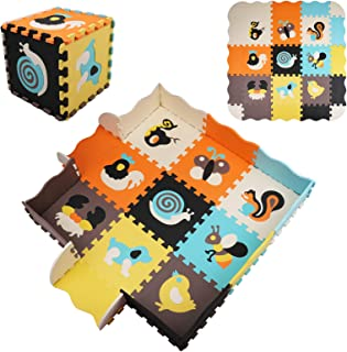 Suwimut 25 Pieces Baby Play Mat with Fence, 0.39 inch Thick Interlocking Foam Floor Tiles with 9 Different Animal Styles f...