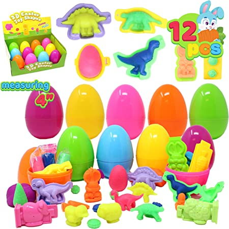 Easter Basket Stuffers//Fillers Classroom Rewards 12 Pcs Prefilled Easter Eggs with Fierce Animal Building Blocks for Easter Eggs Hunt Classroom Prize Supplies Games Party Favor Good Bag Fillers