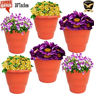 SAI PRASEEDA 10'' Inches Plant pots & Flower Baskets for Garden and Balcony (Pack of 6`s) Terracotta Color
