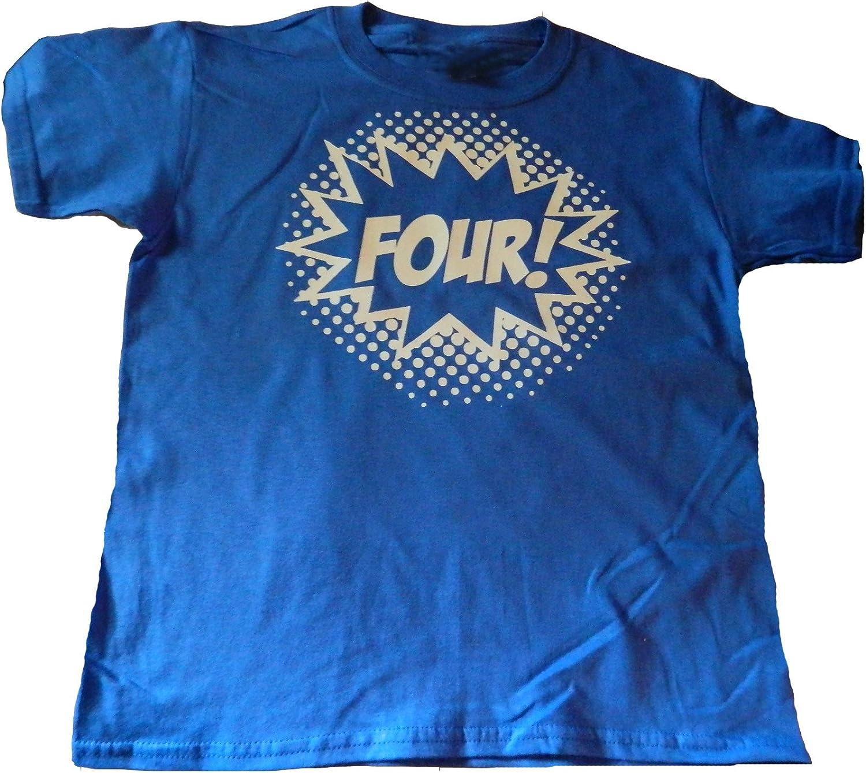 Custom Kingdom Boys Four Superhero Comic Book Hero Birthday Boy Shirt 4 Year Old 4th Birthday T-Shirt