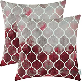CaliTime Pack of 2 Cozy Throw Pillow Cases Covers for Couch Bed Sofa Farmhouse Manual Hand Painted Colorful Geometric Trellis Chain Print 20 X 20 Inches Main Grey Red Burgundy