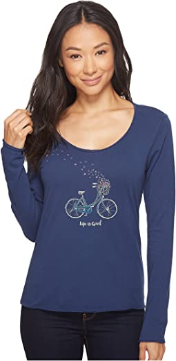Life is Good - Bike Heart Basket Long Sleeve Smooth Tee