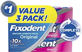 Fixodent Complete Original Denture Adhesive Cream, 2.4 oz, 3 PACK
