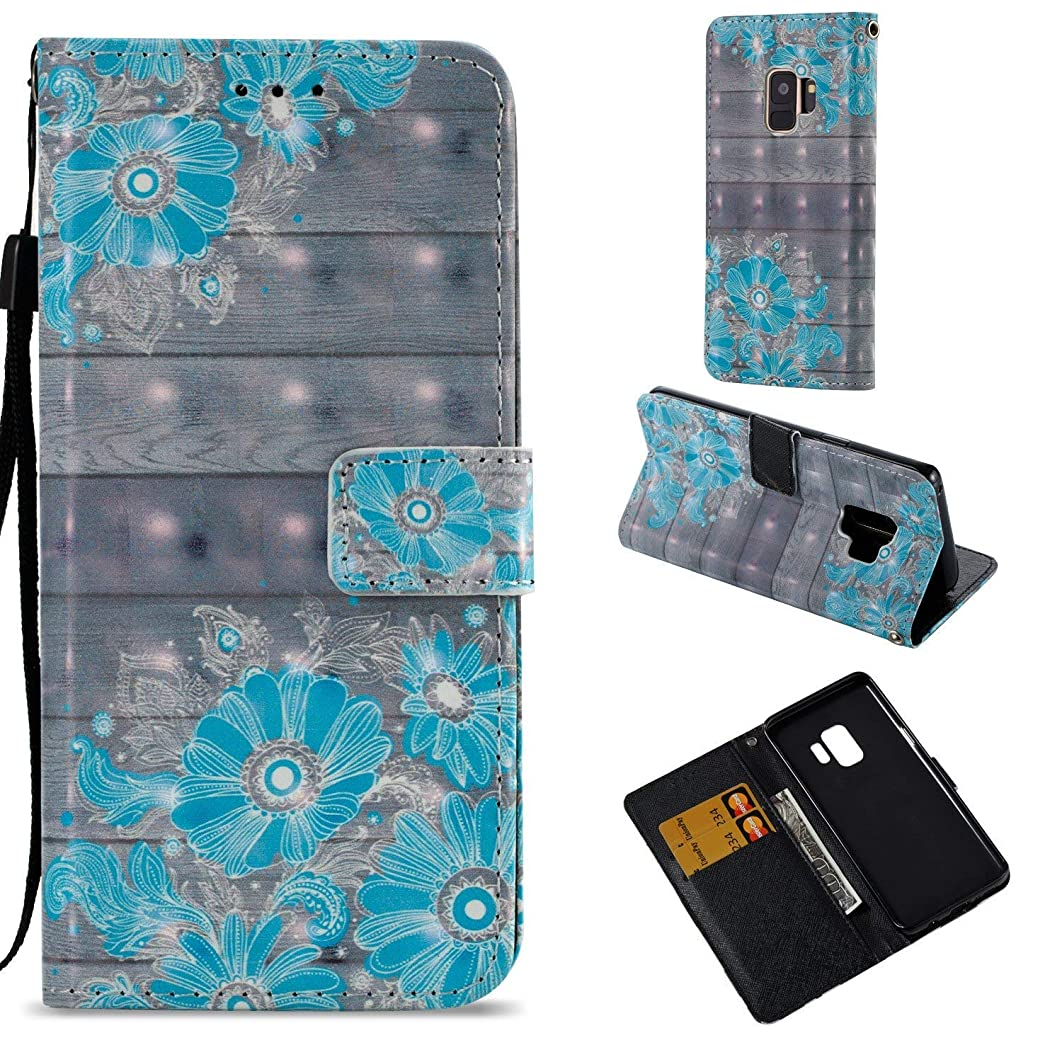 for Xiaomi Mi Max 3 Case,PU Leather Wallet Folio Heavy Duty Protection Phone Cover with Credit Card Slot WristStrap Magnetic Closure Kickstand Accessories Blue Flower