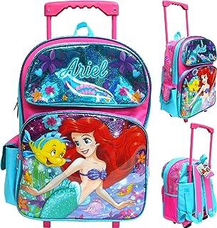 "Disney The Little Mermaid Ariel 16""Large Rolling School Backpack Girl`s Book Bag"
