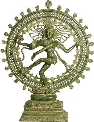 Idol Collections Large Nataraja in Green Finish Brass Statue, Standard