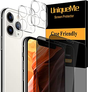 [4 Pack] UniqueMe 2 Pack Privacy Screen Protector Compatible for iPhone 11 Pro Max (6.5 inch) and 2 Pack Camera Lens Prote...