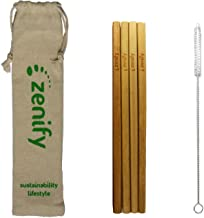 Zenify Bamboo Reusable Straws Set 4x20cm & Travel Bag + Cleaning Brush, Biodegradable Eco Friendly Compostable Drinking Straw Gift Alternative to Plastic Metal Glass Paper Silicone Stainless Steel
