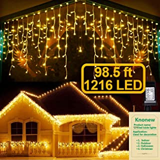 KNONEW LED Icicle Lights, 98ft, 1216 LED, 8 Modes, Curtain Fairy Light Clear Wire LED String Decor for Christmas/Thanksgiving/Easter/Halloween/Party Backdrops Decorations (Warm)