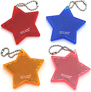 Super Bright Children's Safety Reflective Gear, Stylish Pendant Keychain Reflector for Bags Strollers Wheelchair Clothing, Christmas Halloween Party Hanging Decoration - Stars - 4 PCS