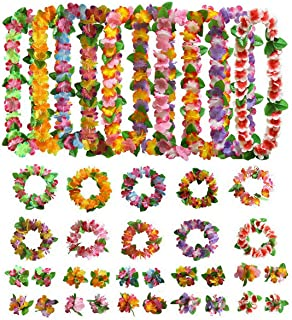 AniiKiss 40 Packs Hawaiian flower Leis,Tropical Luau Party Supplies of Hula Garland Necklaces Bracelets Headband Jumbo Simulated Silk Flowers for Hawaii Decorations, Birthday Party Favors, Beach Theme Party Decorations