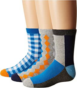 Jefferies Socks - Gingham/Color Block/Argyle Crew Socks 3-Pair Pack (Toddler/Little Kid/Big Kid)