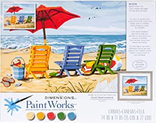 Dimensions Beach Chair Trio Paint by Numbers for Adults, 14'' W x 11'' L