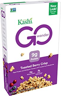 Kashi GO Toasted Berry Crisp Cereal - Vegan   Non-GMO   Bulk Size 14 Oz Box (Pack of 4)