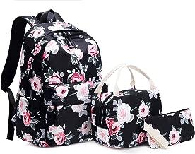 Leaper Fashion Floral Laptop Backpack Girls Daypack Lunch Bag Pencil Bag Black