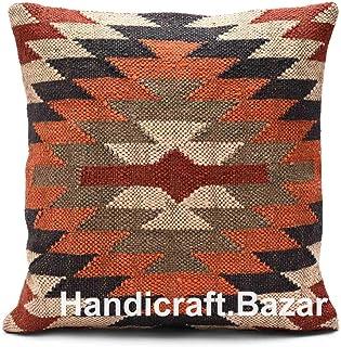 Handicraft Bazar R Funda de cojín Kilim tejida a mano, hecha a mano, estilo étnico, vintage, cojín de Kilim indio, 45,7 x 45,7 cm, funda de cojín étnico Kilim