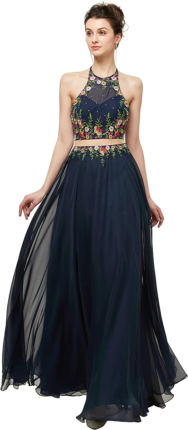 Adonis Pigou Women's Halter Embroidered Long Bridesmaids' Prom Dress Gowns