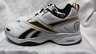 Reebok Pittsburgh Steelers Mens Size 8 Pro Evaluate Trainer White Black Gold Shoes Sneakers AMZ-R 146 (F1 1 sz8)