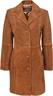 Trench Ladies Classic Knee-Length Designer Real Tan Suede & Navy Suede Leather Jacket Coat 3457