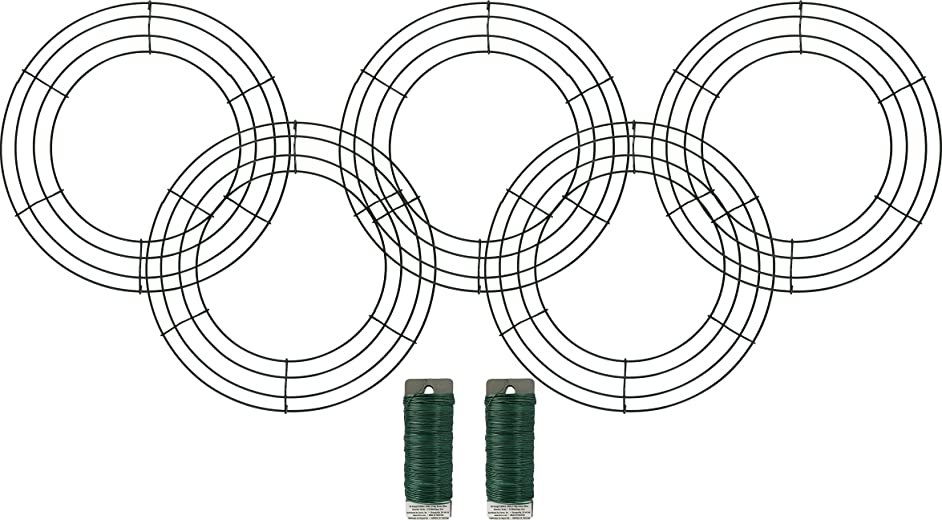 5 12 inch Wreath Form Frames with Green Paddle Wire 26 Gauge .25lb Bundle of 7 Items - 5 Wreath Frames, 2 285 Feet Paddle Wire Total of 570 Feet