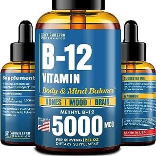 Vitamin B12 Sublingual 5000 mcg - B12 Liquid Methylcobalamin - Made in USA - Vegan Methyl B12 Drops for Healthy Bones & Ba...