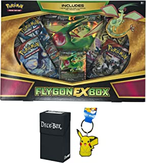 Pokemon Flygon EX Box with Flygon EX Pokemon Card, Oversized Jumbo Flygon EX Card, 4 Factory Sealed Pokemon Booster Packs Bundle with Pikachu Keychain and Ultra Pro Deck Box - 3 Items