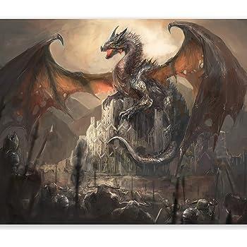 28607500 Stunning Oil Paint effect fire breathing dragon wall sticker
