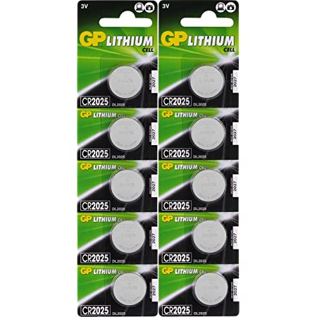 GP Lithium Knopfzellen CR2025 3V, 10 Knopfbatterien CR 2025 Spannung 3 Volt für verschiedenste Geräte- und Verbraucheranwendungen, (10 Stück Batterien CR2025, einzeln entnehmbar)