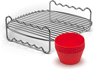 Philips HD9904/01 Airfryer Party Kit (Grill Grate and Muffin Cases), Chrome, Stainless Steel/red