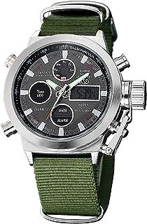 Mens Sport Analog Digital Watches Olive Canvas Nylon Strap Military Chronograph Backlight Waterproof Wrist Watch