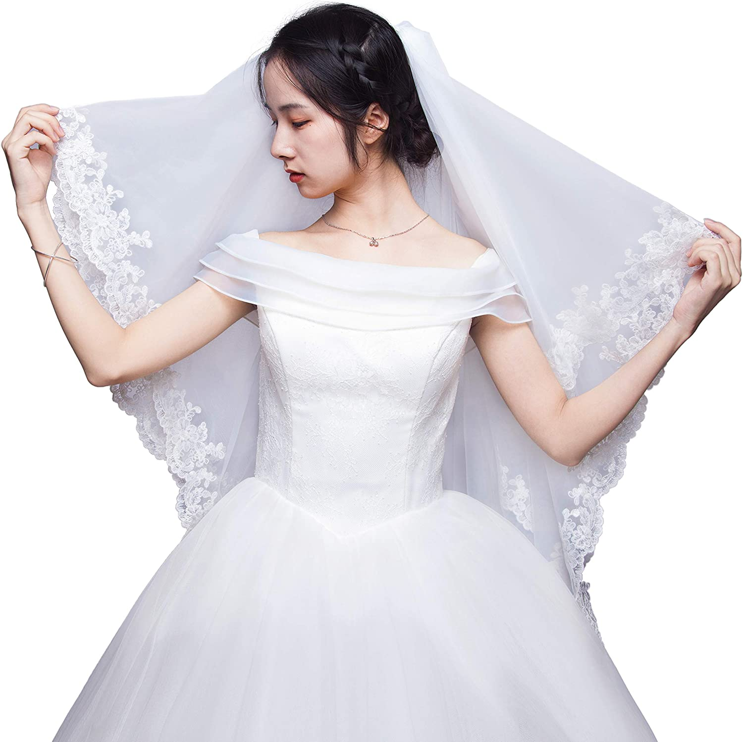 TOIHSUAN Women's 2 Tier Cathedral Length Lace Bridal Veil for Wedding+Comb
