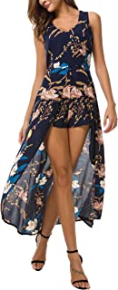 Womens Sleeveless Scoop Neck Floral Rayon Party Split Maxi Romper Dress