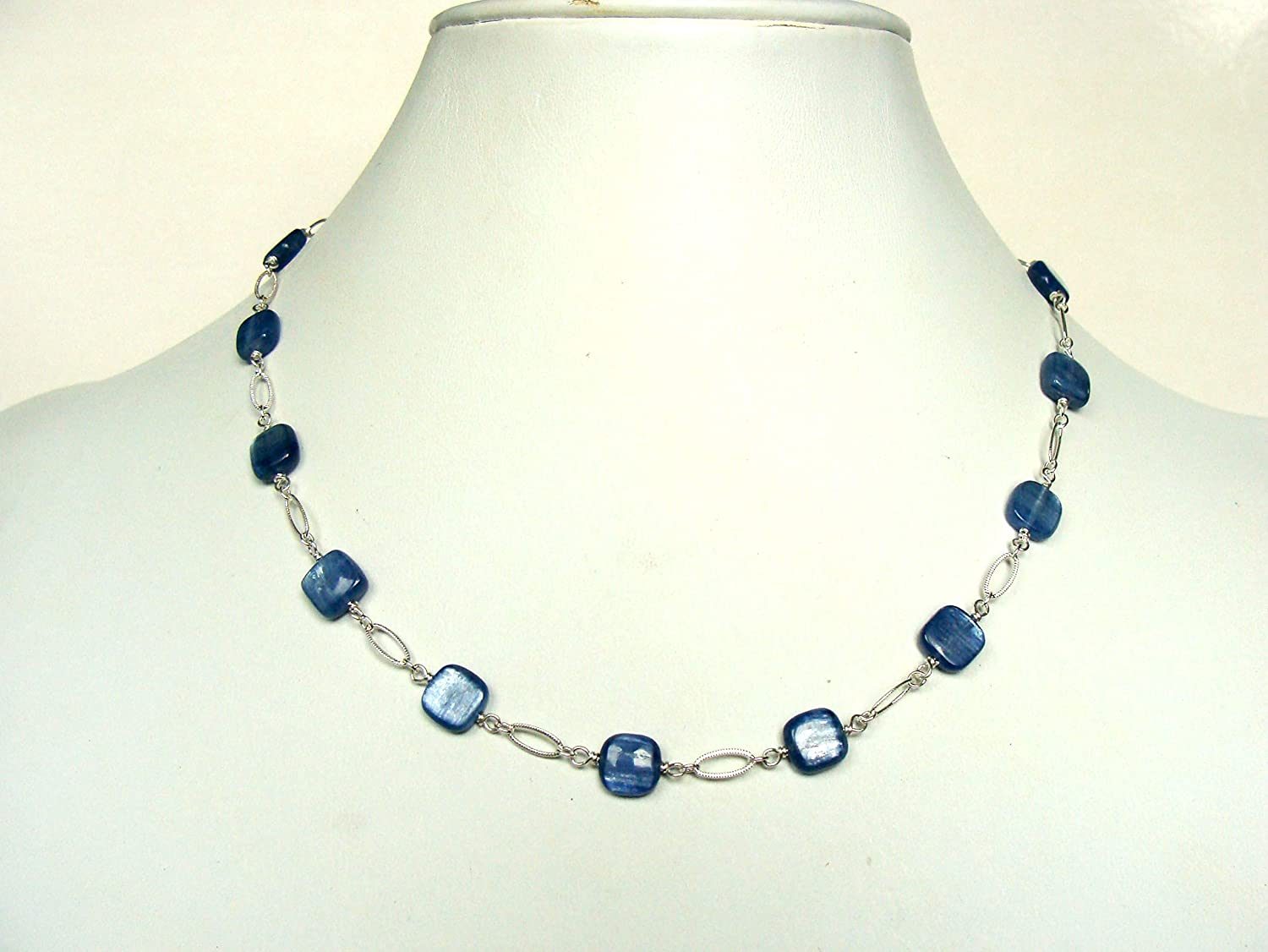 Kyanite 1 year warranty necklace sterling Max 71% OFF silver and medium genuine blue kyanit